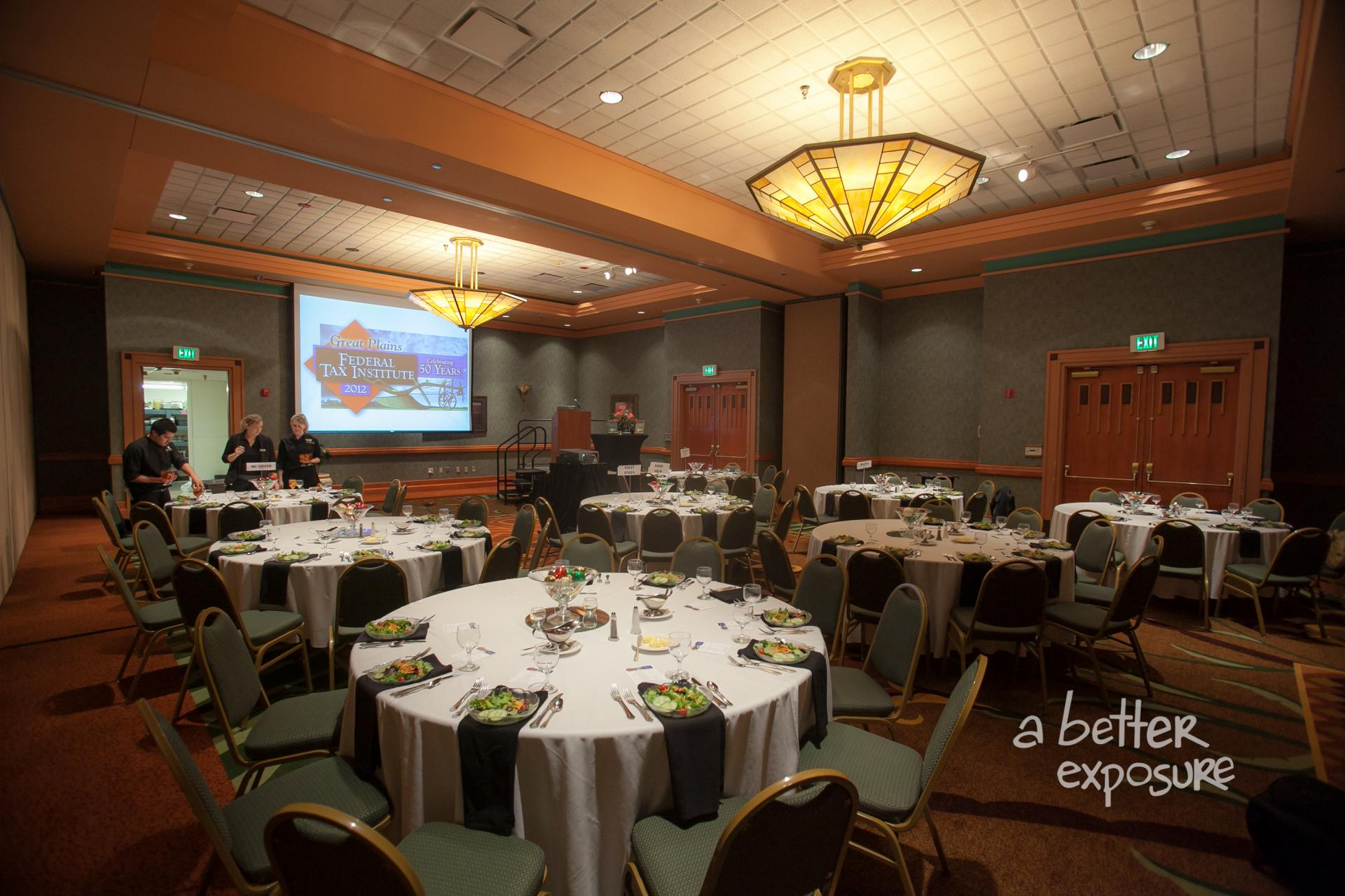 The banquet is set for 50th Anniversary Dinner guests at Embassy Suites - Omaha on November 29, 2012