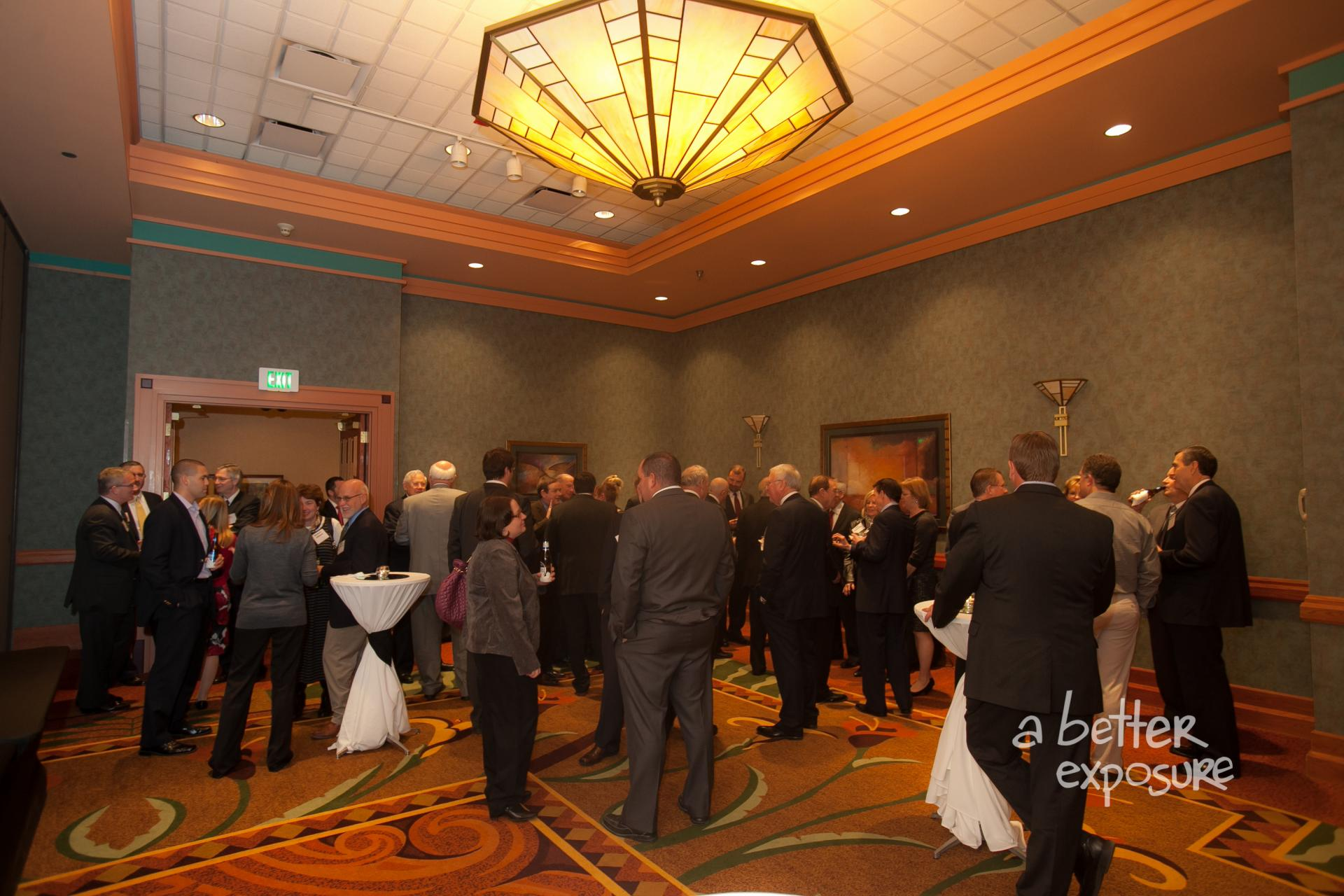 Guests gather for a pre-dinner reception